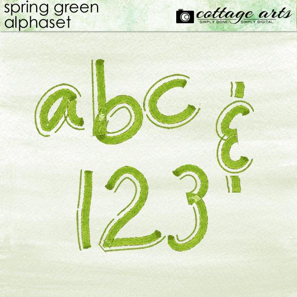 Spring Green AlphaSet Digital Art - Digital Scrapbooking Kits