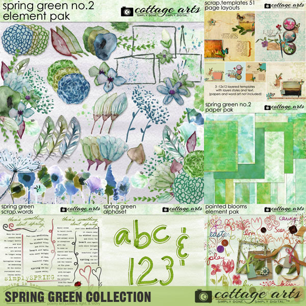 Spring Green Collection Digital Art - Digital Scrapbooking Kits