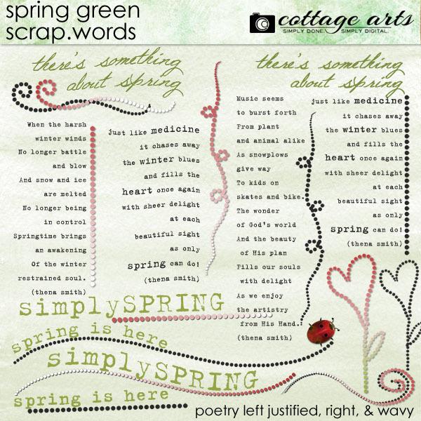Spring Green Scrap.Words Digital Art - Digital Scrapbooking Kits
