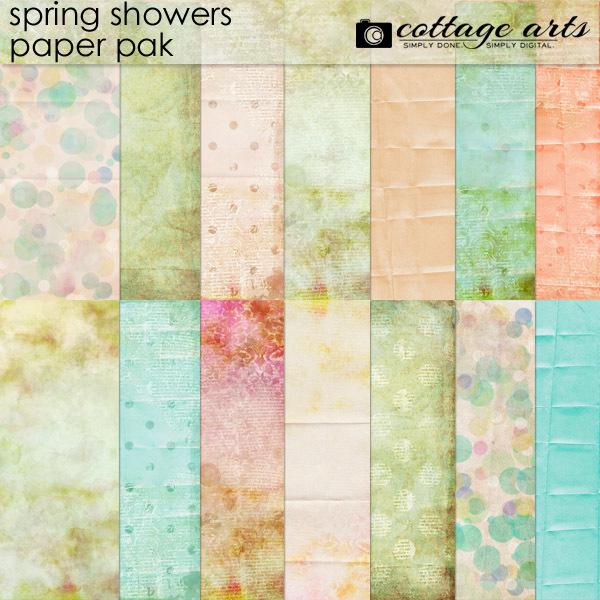 Spring Showers Paper Pak Digital Art - Digital Scrapbooking Kits
