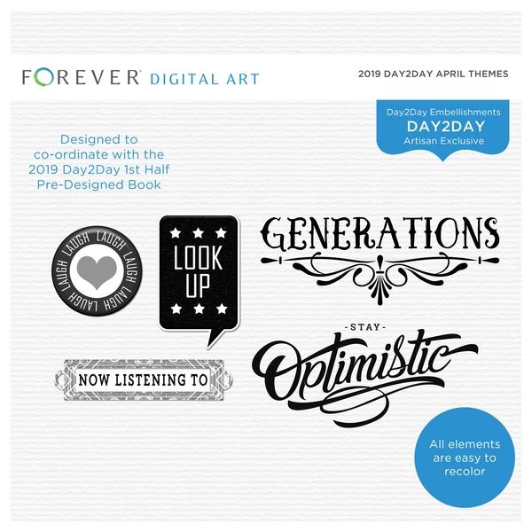 2019 Day2Day April Themes Digital Art - Digital Scrapbooking Kits