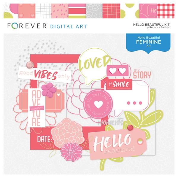 Hello Beautiful Kit Digital Art - Digital Scrapbooking Kits