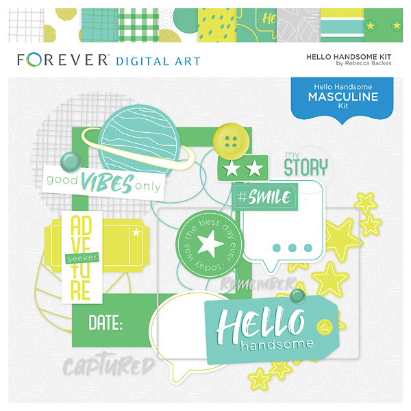 Hello Handsome Kit Digital Art - Digital Scrapbooking Kits