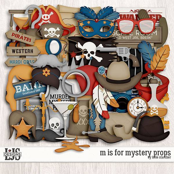 M Is For Mystery Props Digital Art - Digital Scrapbooking Kits