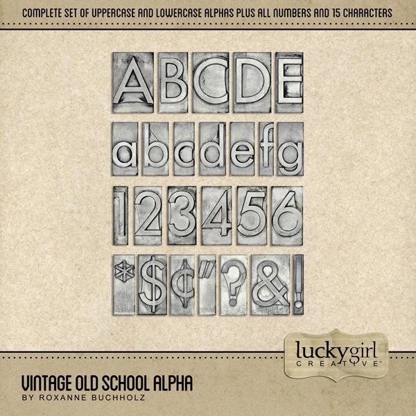 Vintage Old School Alpha Digital Art - Digital Scrapbooking Kits