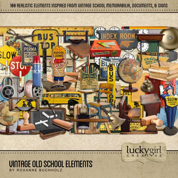 Vintage Old School Elements Digital Art - Digital Scrapbooking Kits