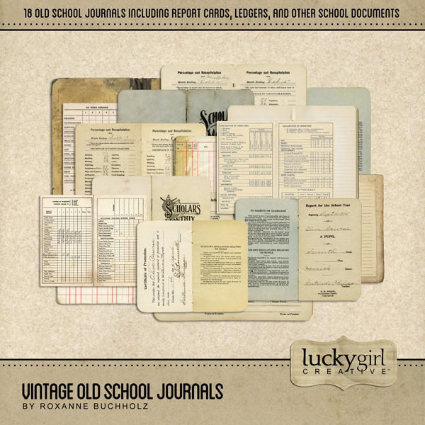Vintage Old School Journals Digital Art - Digital Scrapbooking Kits