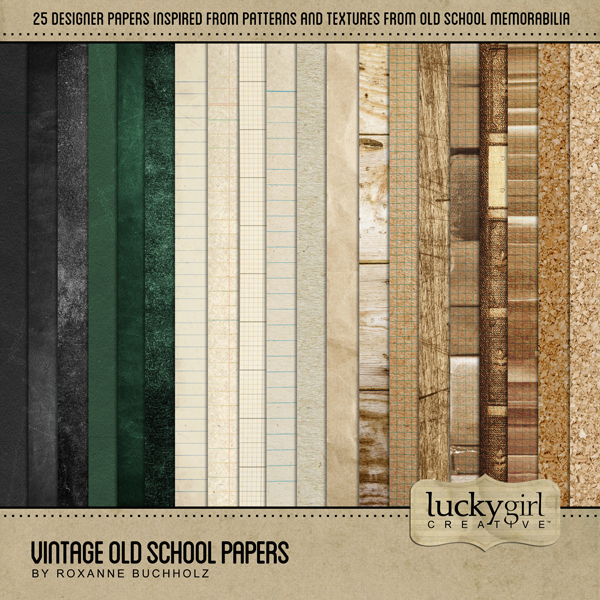 Vintage Old School Papers Digital Art - Digital Scrapbooking Kits