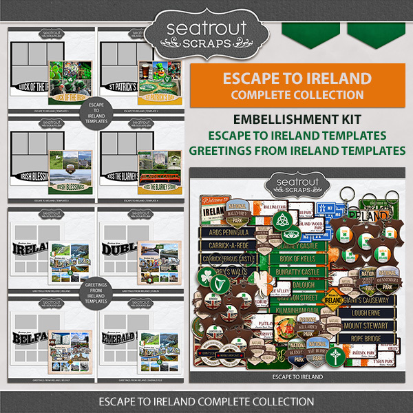 Escape To Ireland Complete Collection Digital Art - Digital Scrapbooking Kits
