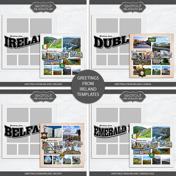 Greetings From Ireland Templates Digital Art - Digital Scrapbooking Kits