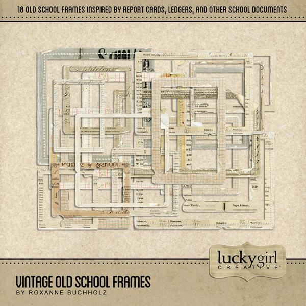 Vintage Old School Frames Digital Art - Digital Scrapbooking Kits