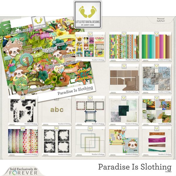 Paradise Is Slothing Jumbo Bundle Digital Art - Digital Scrapbooking Kits