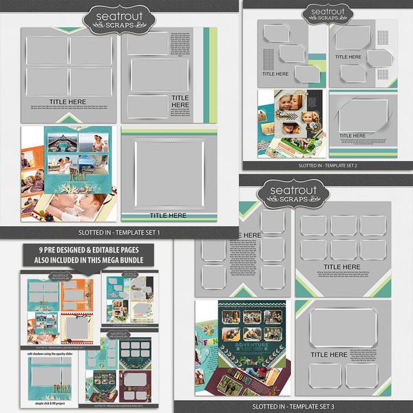 Slotted In Templates & Pre Designed Pages Mega Bundle Digital Art - Digital Scrapbooking Kits