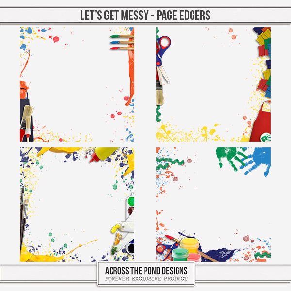 Let's Get Messy - Page Edgers Digital Art - Digital Scrapbooking Kits