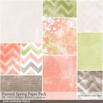 Painted Spring Paper Pack Digital Art - Digital Scrapbooking Kits