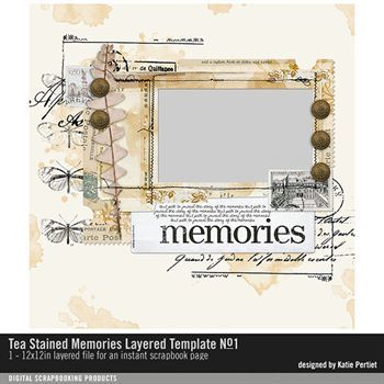 Tea Stained Memories Layered Template No. 01 Digital Art - Digital Scrapbooking Kits
