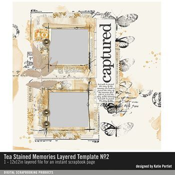 Tea Stained Memories Layered Template No. 02 Digital Art - Digital Scrapbooking Kits