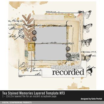 Tea Stained Memories Layered Template No. 03 Digital Art - Digital Scrapbooking Kits