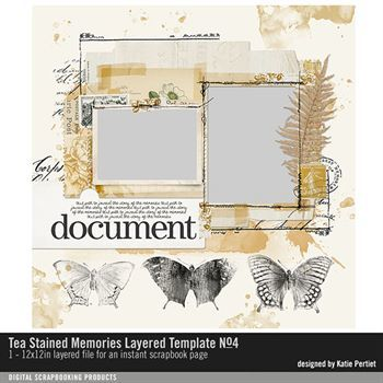 Tea Stained Memories Layered Template No. 04 Digital Art - Digital Scrapbooking Kits