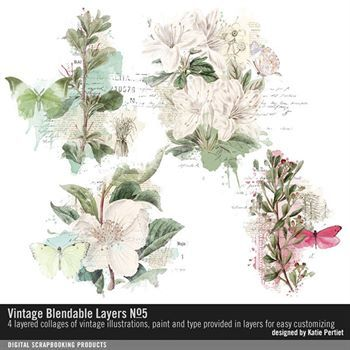Vintage Blendable Layers No. 05 Digital Art - Digital Scrapbooking Kits