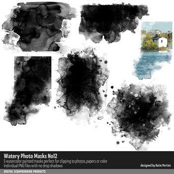 Watery Photo Masks No. 12 Digital Art - Digital Scrapbooking Kits