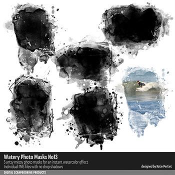 Watery Photo Masks No. 13 Digital Art - Digital Scrapbooking Kits