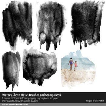 Watery Photo Masks No. 14 Digital Art - Digital Scrapbooking Kits