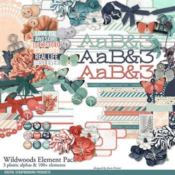 Wildwoods Element Pack Digital Art - Digital Scrapbooking Kits