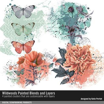 Wildwoods Painted Blends And Layers Digital Art - Digital Scrapbooking Kits