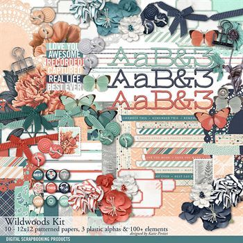 Wildwoods Scrapbook Kit Digital Art - Digital Scrapbooking Kits