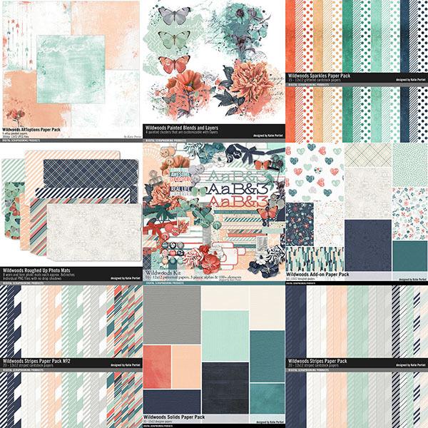 Wildwoods Scrapbooking Bundle Digital Art - Digital Scrapbooking Kits