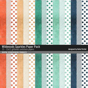Wildwoods Sparkles Paper Pack Digital Art - Digital Scrapbooking Kits