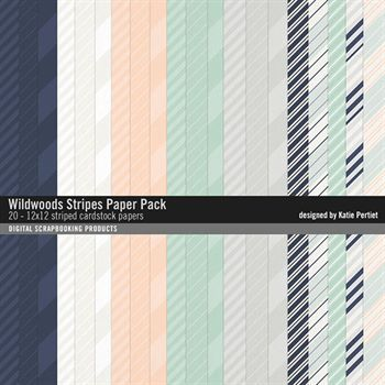 Wildwoods Stripes Paper Pack No. 01 Digital Art - Digital Scrapbooking Kits