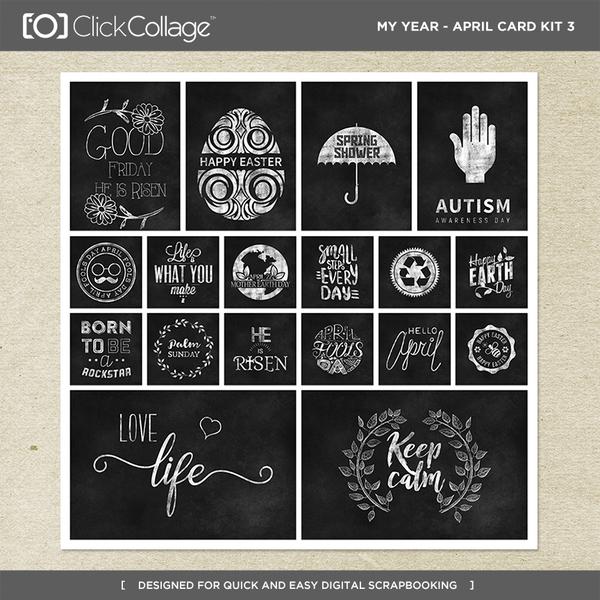 My Year - April Card Kit 3 Digital Art - Digital Scrapbooking Kits