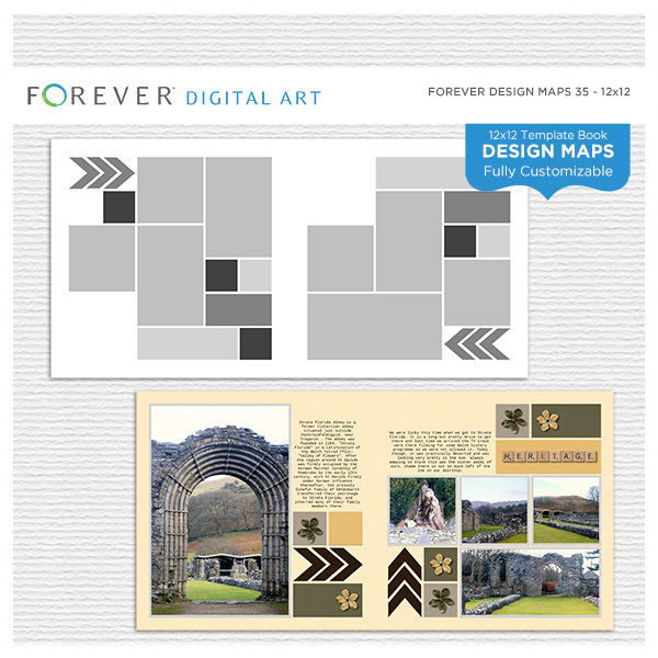 Forever Design Maps 35 12x12 Digital Art - Digital Scrapbooking Kits