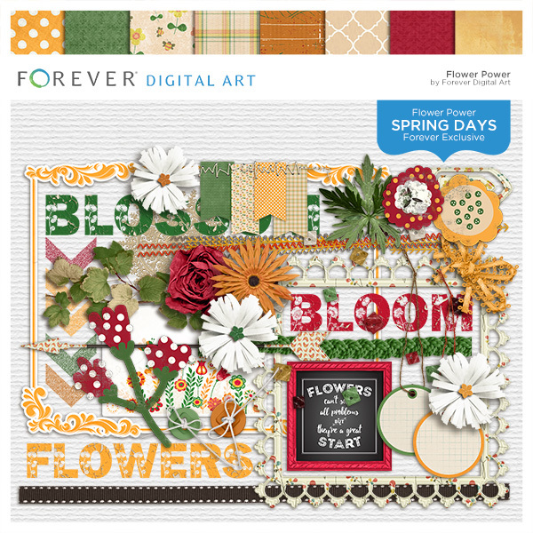 Spring Days - Flower Power Digital Art - Digital Scrapbooking Kits