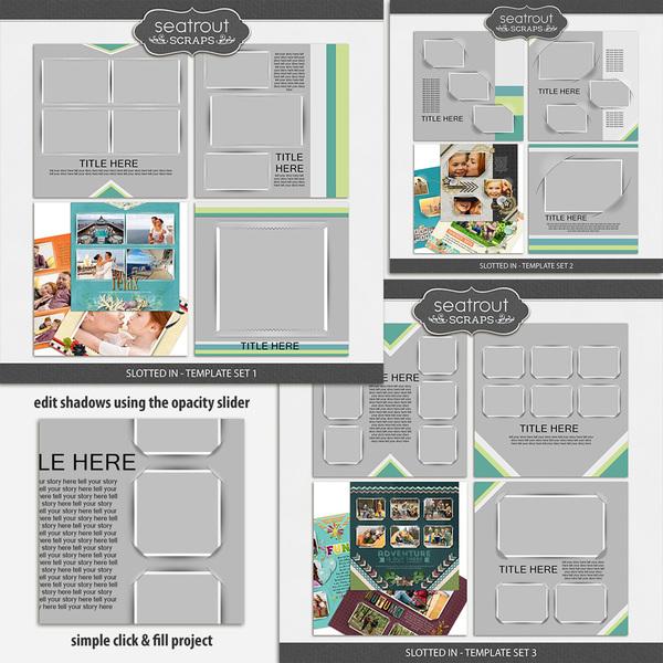 Slotted In Template Bundle Digital Art - Digital Scrapbooking Kits