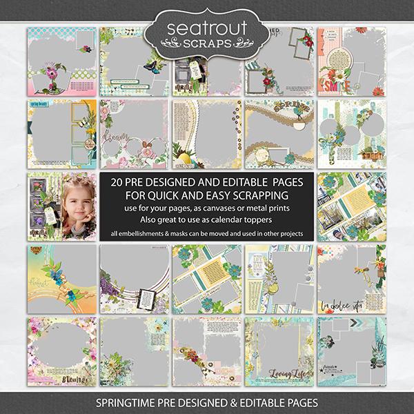 Springtime Pre Designed & Editable Pages Digital Art - Digital Scrapbooking Kits