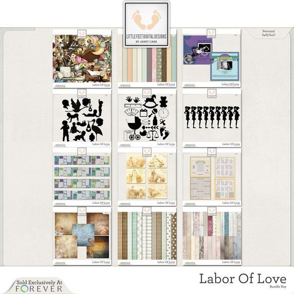 Labor Of Love Super Mega Jumbo Bundle For Boy Digital Art - Digital Scrapbooking Kits