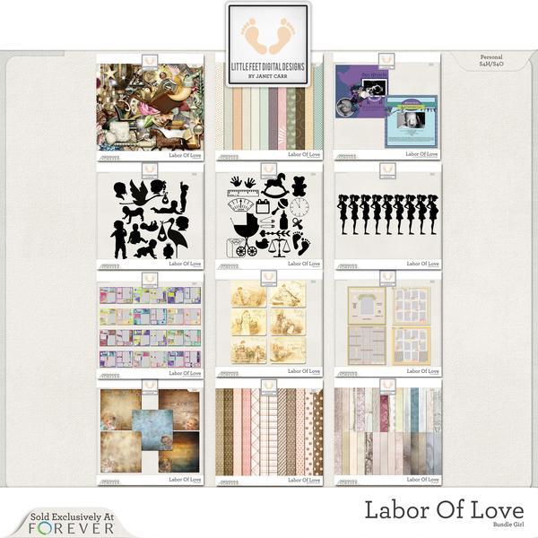 Labor Of Love Super Mega Jumbo Bundle For Girl Digital Art - Digital Scrapbooking Kits