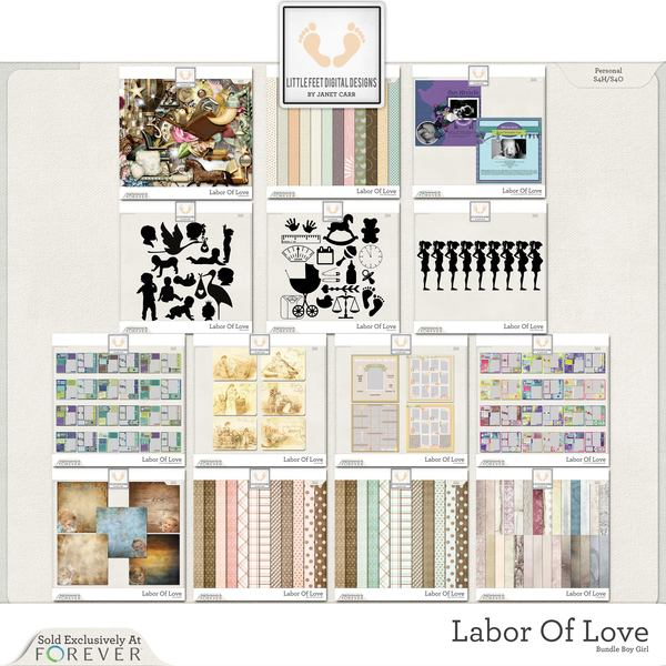 Labor Of Love Super Mega Jumbo Bundle For Girl And Boy Digital Art - Digital Scrapbooking Kits