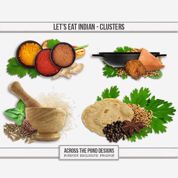 Let's Eat Indian - Clusters Digital Art - Digital Scrapbooking Kits