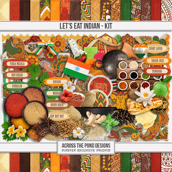 Let's Eat Indian - Page Kit Digital Art - Digital Scrapbooking Kits