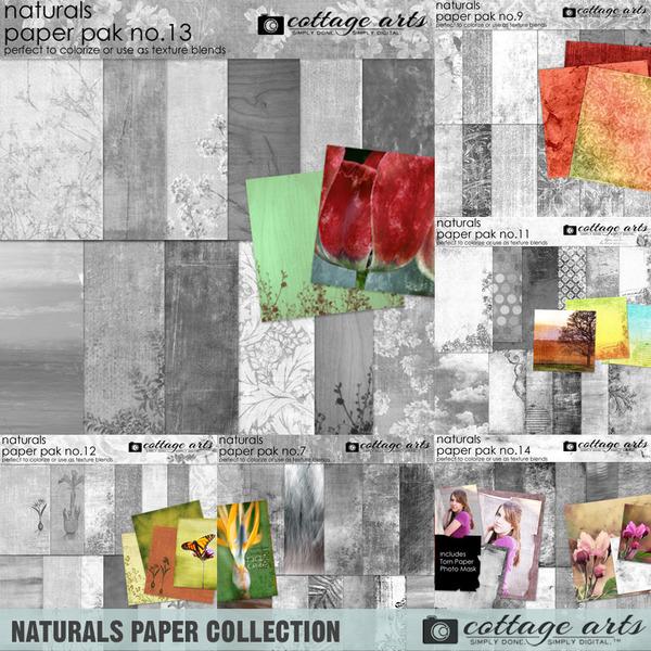 Naturals Paper Collection Digital Art - Digital Scrapbooking Kits