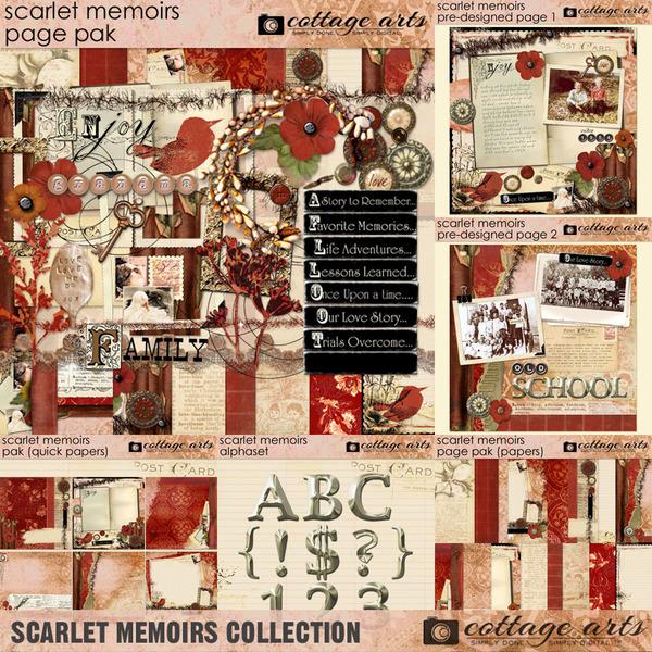 Scarlet Memoirs Collection Digital Art - Digital Scrapbooking Kits