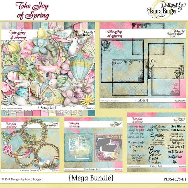 The Joy Of Spring Bundle Digital Art - Digital Scrapbooking Kits