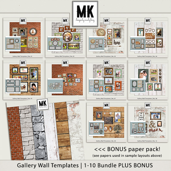 Gallery Wall Templates - 1-10 Bundle Digital Art - Digital Scrapbooking Kits