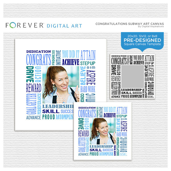 Congratulations Subway Art Canvas Digital Art - Digital Scrapbooking Kits