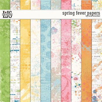 Spring Fever Papers Digital Art - Digital Scrapbooking Kits