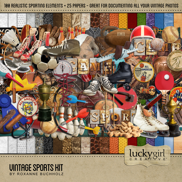 Vintage Sports Kit Digital Art - Digital Scrapbooking Kits